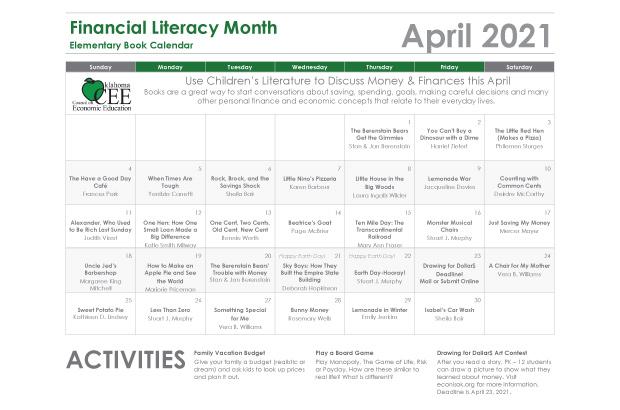 Elementary Book Calendar Financial Literacy Month