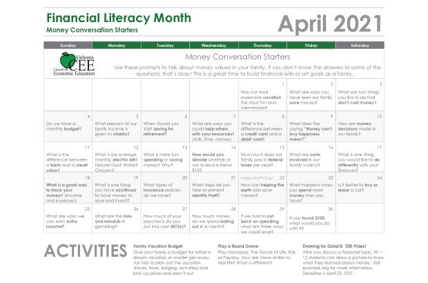 Money conversation starters calendar financial literacy month