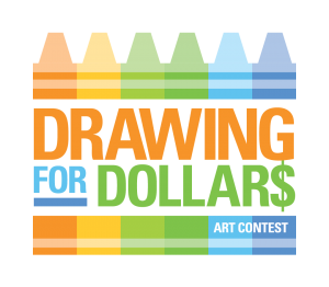 drawing for dollars art contest with multicolored illustrated crayons