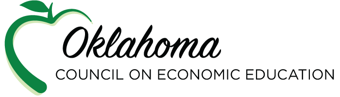 Oklahoma council on economic education logo with apple silhouette outline