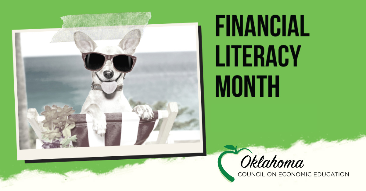 financial literacy month with polaroid style picture of a dog with stickers on top