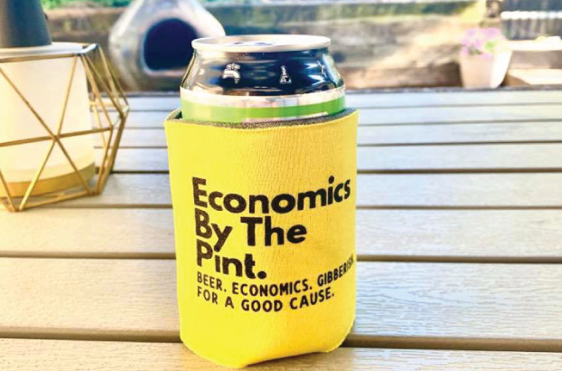 beer can in custom economics by the pint koozie