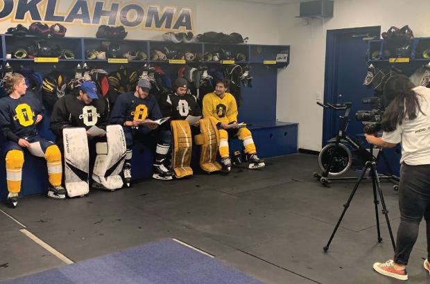 UCO Hockey team being interviewed